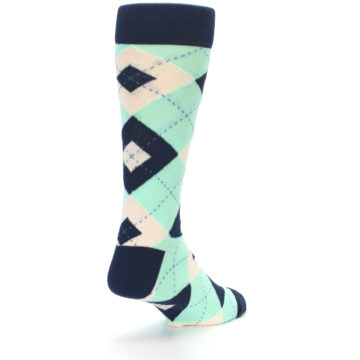Image of Mint Navy Burlap Argyle Wedding Groomsmen Men's Dress Socks (side-1-back-21)