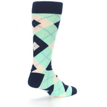 Image of Mint Navy Burlap Argyle Wedding Groomsmen Men's Dress Socks (side-1-back-22)