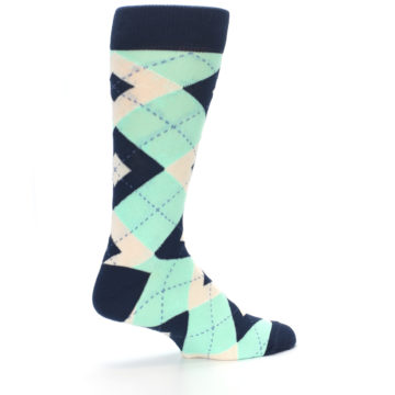 Image of Mint Navy Burlap Argyle Wedding Groomsmen Men's Dress Socks (side-1-23)