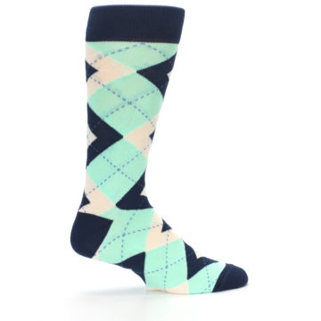 Image of Mint Navy Burlap Argyle Wedding Groomsmen Men's Dress Socks (side-1-24)