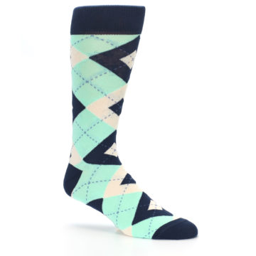 Image of Mint Navy Burlap Argyle Wedding Groomsmen Men's Dress Socks (side-1-26)