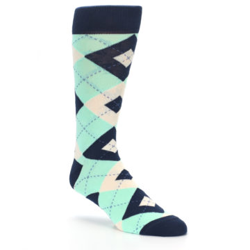 Image of Mint Navy Burlap Argyle Wedding Groomsmen Men's Dress Socks (side-1-27)