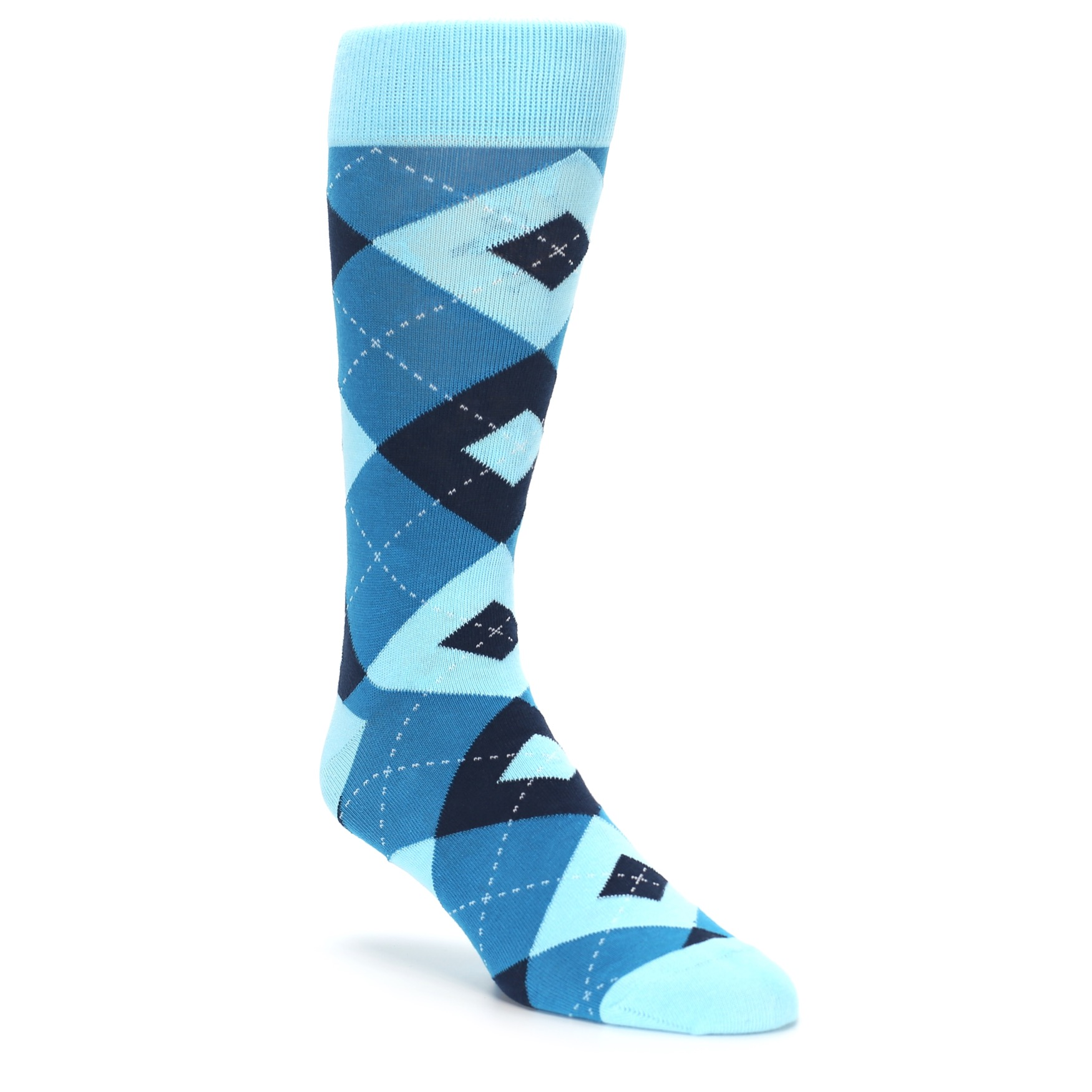 Pacific Teal Pool Navy Argyle Men's Dress Socks