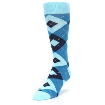 Image of Pacific Teal Pool Navy Argyle Men's Dress Socks (side-2-front-07)