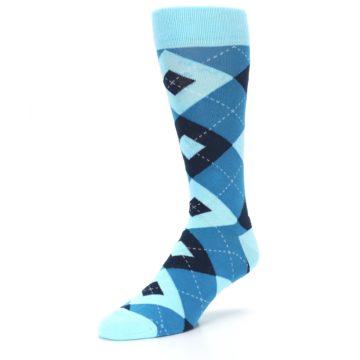 Image of Pacific Teal Pool Navy Argyle Men's Dress Socks (side-2-front-08)