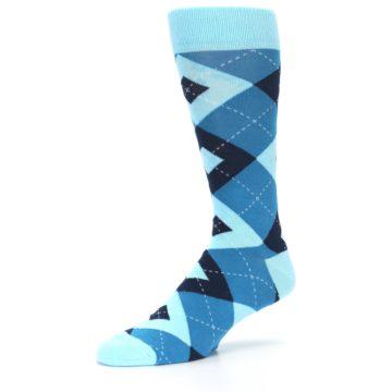 Image of Pacific Teal Pool Navy Argyle Men's Dress Socks (side-2-09)