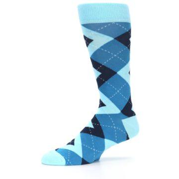 Image of Pacific Teal Pool Navy Argyle Men's Dress Socks (side-2-10)