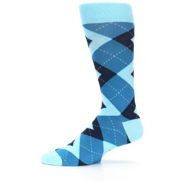 Image of Pacific Teal Pool Navy Argyle Men's Dress Socks (side-2-11)