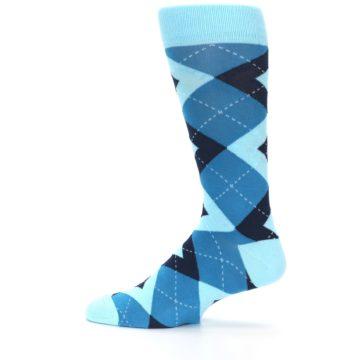 Image of Pacific Teal Pool Navy Argyle Men's Dress Socks (side-2-12)