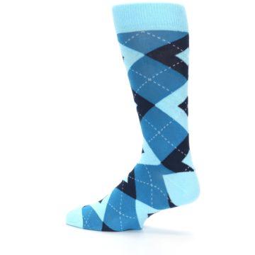 Image of Pacific Teal Pool Navy Argyle Men's Dress Socks (side-2-13)