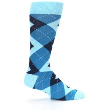 Image of Pacific Teal Pool Navy Argyle Men's Dress Socks (side-1-24)