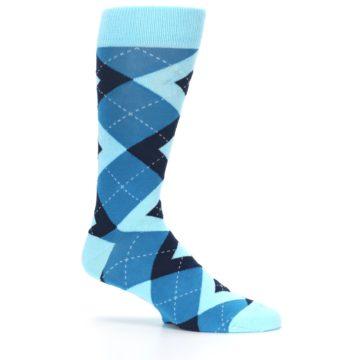 Image of Pacific Teal Pool Navy Argyle Men's Dress Socks (side-1-25)