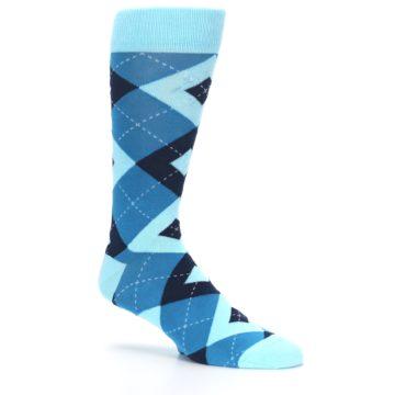 Image of Pacific Teal Pool Navy Argyle Men's Dress Socks (side-1-26)