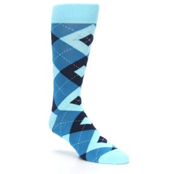 Image of Pacific Teal Pool Navy Argyle Men's Dress Socks (side-1-27)