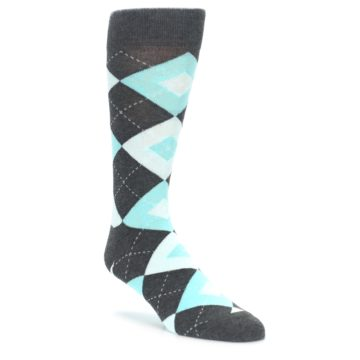 Pool Blue Argyle Wedding Socks for Groomsmen
