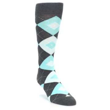 Image of Pool Blue Gray Argyle Men's Dress Socks (side-1-front-02)
