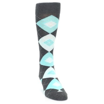 Image of Pool Blue Gray Argyle Men's Dress Socks (side-1-front-03)