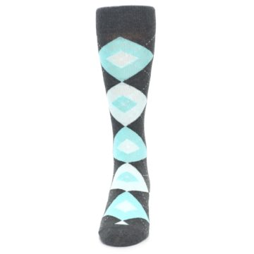 Image of Pool Blue Gray Argyle Men's Dress Socks (front-05)