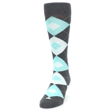Image of Pool Blue Gray Argyle Men's Dress Socks (side-2-front-06)