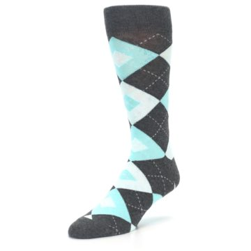 Image of Pool Blue Gray Argyle Men's Dress Socks (side-2-front-08)