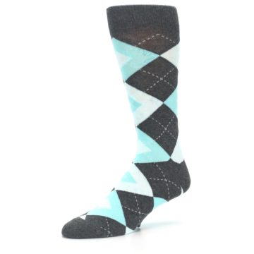 Image of Pool Blue Gray Argyle Men's Dress Socks (side-2-09)