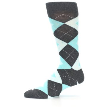 Image of Pool Blue Gray Argyle Men's Dress Socks (side-2-11)