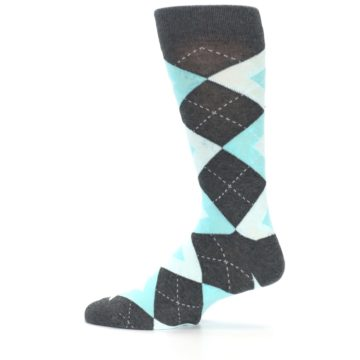 Image of Pool Blue Gray Argyle Men's Dress Socks (side-2-12)