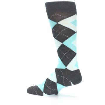 Image of Pool Blue Gray Argyle Men's Dress Socks (side-2-13)
