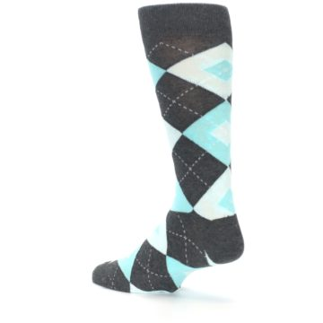 Image of Pool Blue Gray Argyle Men's Dress Socks (side-2-back-14)