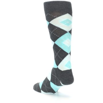 Image of Pool Blue Gray Argyle Men's Dress Socks (side-2-back-15)