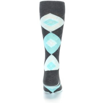 Image of Pool Blue Gray Argyle Men's Dress Socks (back-18)