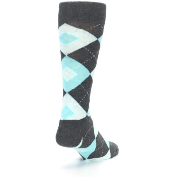 Image of Pool Blue Gray Argyle Men's Dress Socks (side-1-back-20)