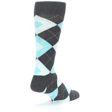 Image of Pool Blue Gray Argyle Men's Dress Socks (side-1-back-21)