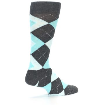 Image of Pool Blue Gray Argyle Men's Dress Socks (side-1-back-22)