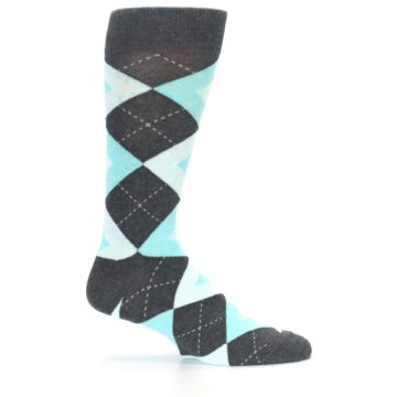 Image of Pool Blue Gray Argyle Men's Dress Socks (side-1-24)