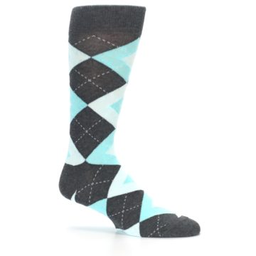 Image of Pool Blue Gray Argyle Men's Dress Socks (side-1-25)