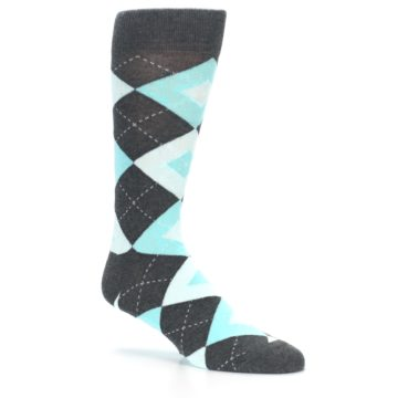 Image of Pool Blue Gray Argyle Men's Dress Socks (side-1-26)