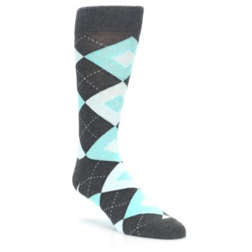 Image of Pool Blue Gray Argyle Men's Dress Socks (side-1-27)