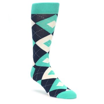 Turquoise Navy Argyle Wedding Socks for Groomsmen