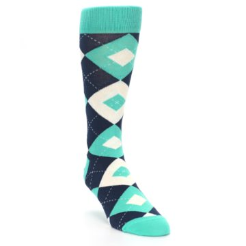 Image of Turquoise Navy Argyle Wedding Groomsmen Men's Dress Socks (side-1-front-02)