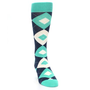 Image of Turquoise Navy Argyle Wedding Groomsmen Men's Dress Socks (side-1-front-03)