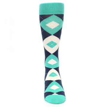 Image of Turquoise Navy Argyle Wedding Groomsmen Men's Dress Socks (front-04)