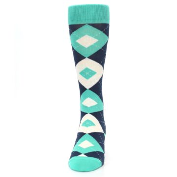 Image of Turquoise Navy Argyle Wedding Groomsmen Men's Dress Socks (front-05)