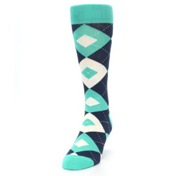 Image of Turquoise Navy Argyle Wedding Groomsmen Men's Dress Socks (side-2-front-06)