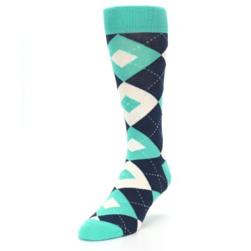 Image of Turquoise Navy Argyle Wedding Groomsmen Men's Dress Socks (side-2-front-07)