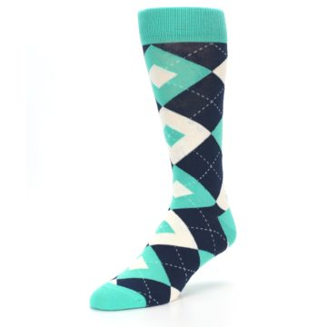 Image of Turquoise Navy Argyle Wedding Groomsmen Men's Dress Socks (side-2-front-08)