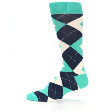 Image of Turquoise Navy Argyle Wedding Groomsmen Men's Dress Socks (side-2-12)