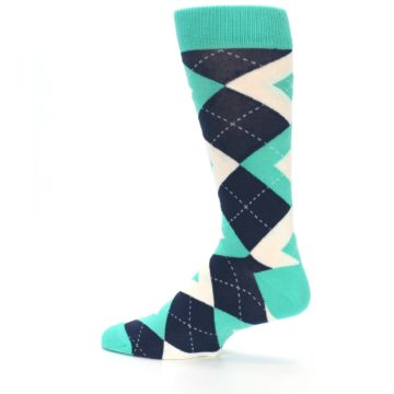 Image of Turquoise Navy Argyle Wedding Groomsmen Men's Dress Socks (side-2-13)