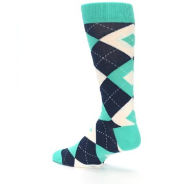 Image of Turquoise Navy Argyle Wedding Groomsmen Men's Dress Socks (side-2-back-14)