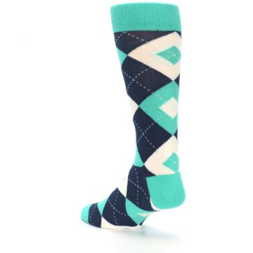 Image of Turquoise Navy Argyle Wedding Groomsmen Men's Dress Socks (side-2-back-15)